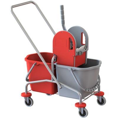 Carrello duo mop cromato 2x15 lt. con pressa