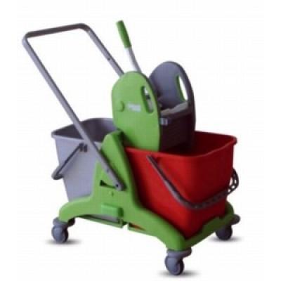 Carrello duo-mop plastica 2x25 lt con pressa