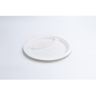 Piatto piano a 2 scomparti BIA polpa di cellulosa diam. 220