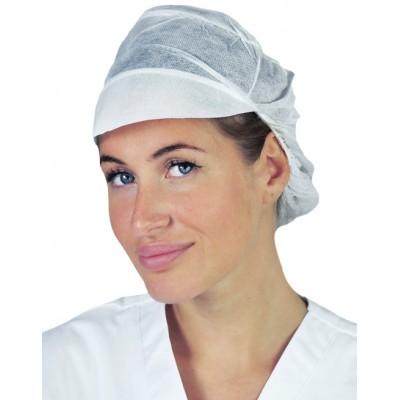 Cappellino TNT bianco con visiera e retina