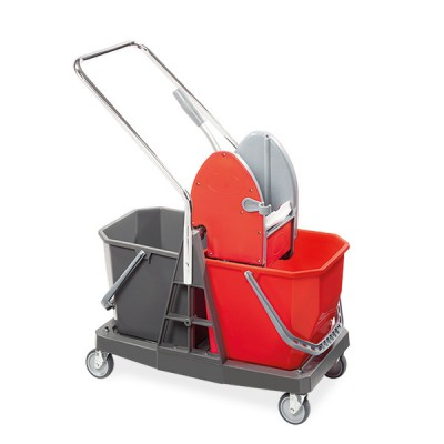 Carrello LZ duo-mop plastica 2x20 lt con pressa mop