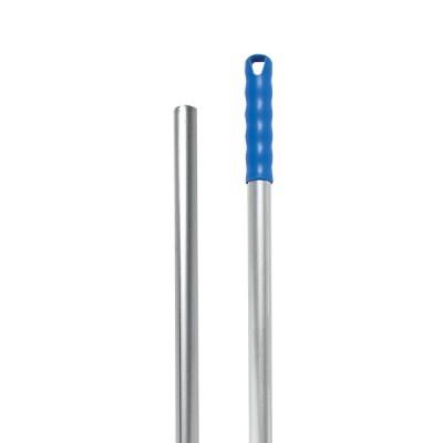 Manico alluminio 140cm con foro, manopola blu