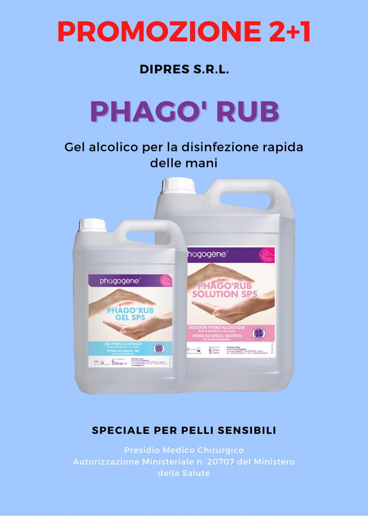 Promozione gel alcolico disinfettante Phago Rub
